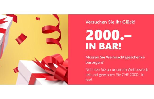 Gewinnen Sie CHF 2000 Bargeld für Weihnachten