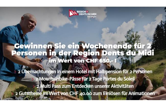 Gewinnen Sie ein Wochenende für 2 Personen in der Region Dents du Midi