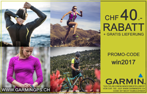 Promotionscode für Garmin über 40 CHF, Gratis-Lieferung inklusive